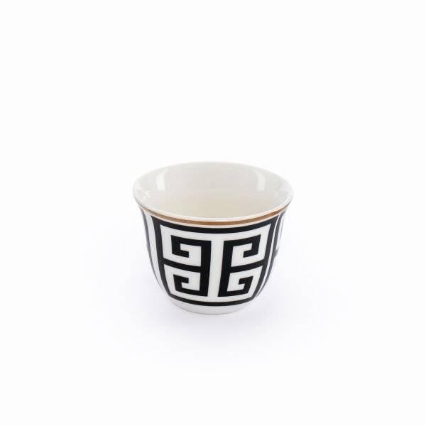 طقم فناجين قهوة بورسلان بخط ذهبي منقوش 12 قطعة