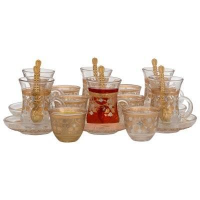 طقم شاي وقهوة زجاج بنقش ذهبي وفضي 24 قطعة السيف غاليري