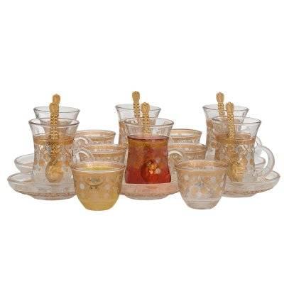 طقم تقديم شاي وقهوة زجاج بنقش ذهبي وفضي 24 قطعة السيف غاليري