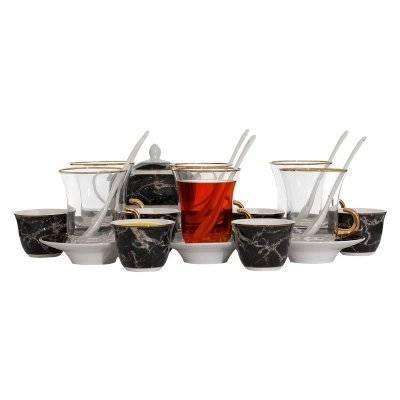 طقم بيالات زجاج+ فناجين بورسلان نقش أسود رخامي 26 قطعة