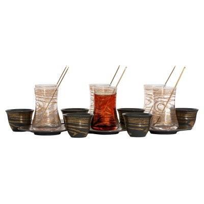 طقم تقديم (استكانات زجاج+ فناجين بورسلان مع صحون ) رمادي غامق خطوط ذهبي 24 قطع