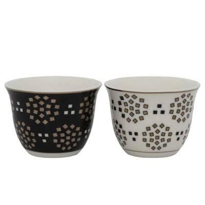 طقم فناجين قهوة عربي بورسلان 2نقشة أسود*أبيض مربعات ذهبي 12 قطعة