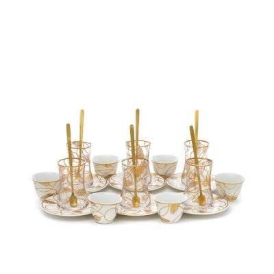 طقم تقديم فناجين وبيالات أبيض بنقش ذهبي 24 قطعة