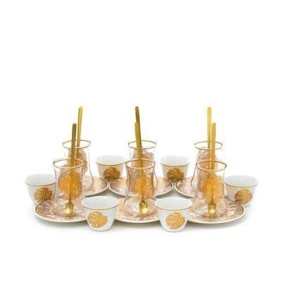 طقم تقديم فناجين وبيالات زجاج بنقش ريشة ذهبي 24 قطعة