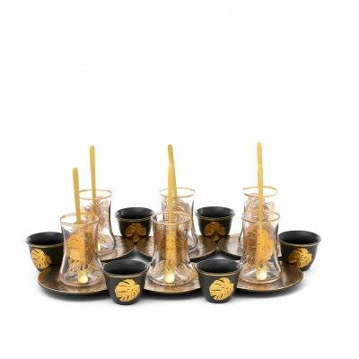 طقم تقديم فناجين وبيالات رمادي بنقش ريشة ذهبية 24 قطعة