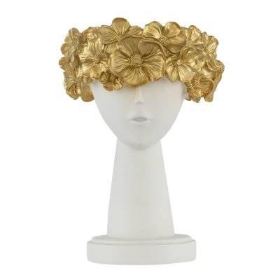 تحفة طاولة شكل رأس فتاة مع ورود ذهبية